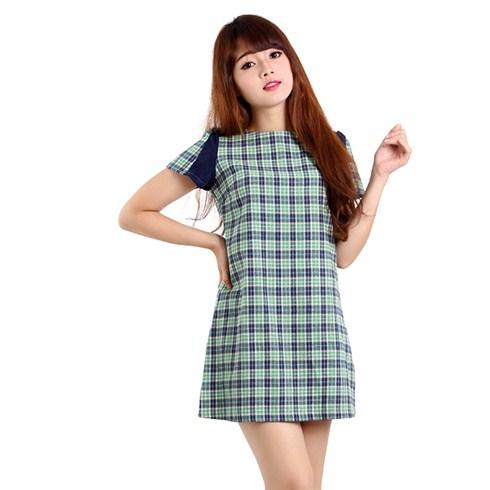 Đầm caro phối cách điệu màu xanh