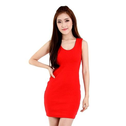 Đầm thun body ba lỗ màu đỏ