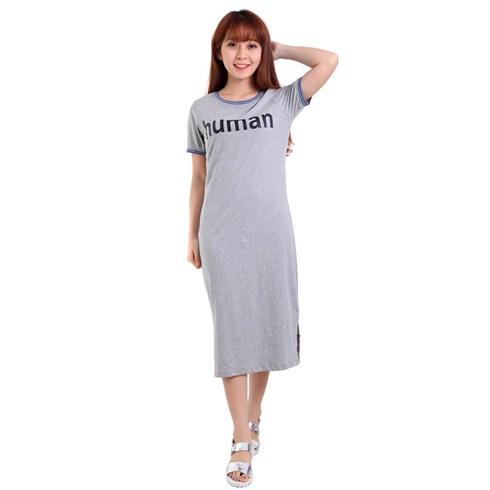 Đầm thun lửng viền cổ HUMAN màu xám