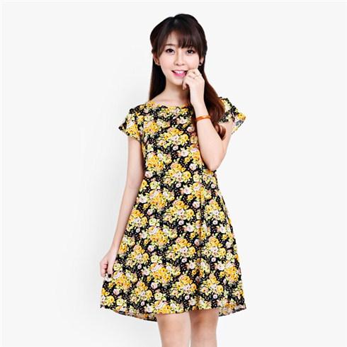 Đầm thun oversize họa tiết hoa xinh xắn