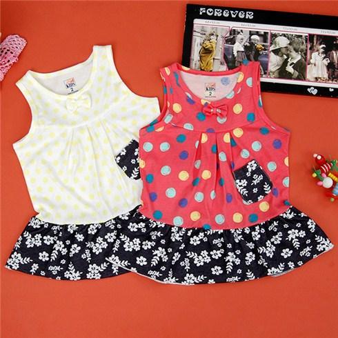 Đầm thun phối họa tiết cho bé
