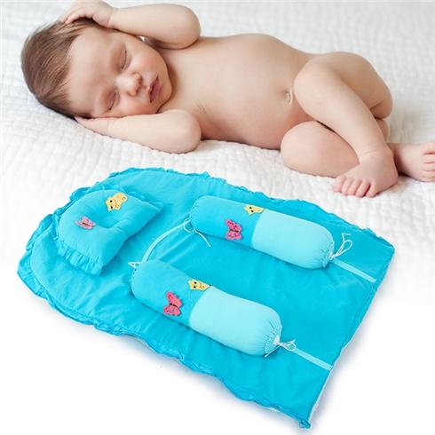 Bộ gối nệm cho bé (1 nệm, 1 gối nằm, 2 gối ôm) - Xanh biển