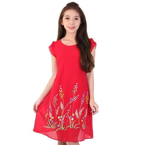 Đầm xòe chữ A in hoa chấm bi - màu đỏ