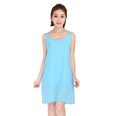 Đầm voan hai lớp thời trang - màu xanh