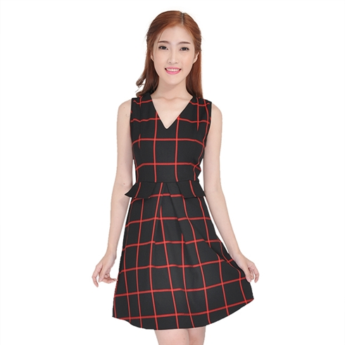 Đầm xòe kẻ ô vintage Suvanna thời trang