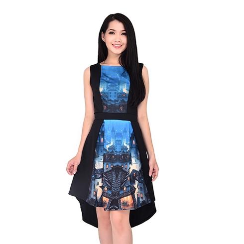 Đầm xòe nữ in họa tiết độc đáo màu đen