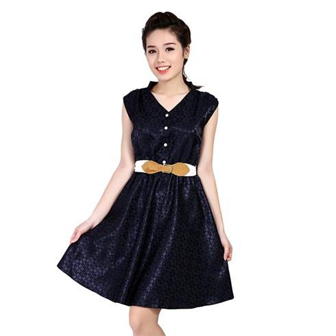 Đầm công sở kaki phi phối dây nịt eo Khánh Linh - xanh đen