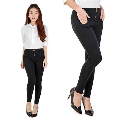 Quần kaki lưng cao form ôm cực chuẩn màu đen