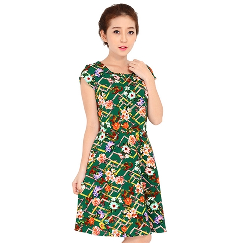 Đầm thun xòe họa tiết hoa thanh lịch