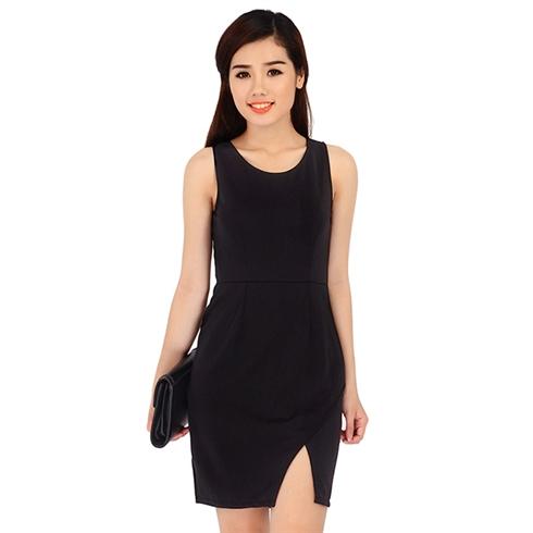 Đầm body xẻ vạt cách điệu - đen