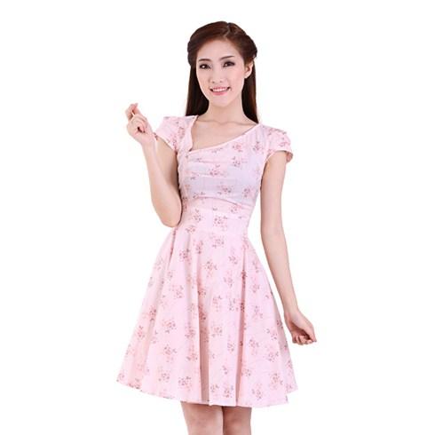 Đầm kate xòe cổ lệch - màu hồng