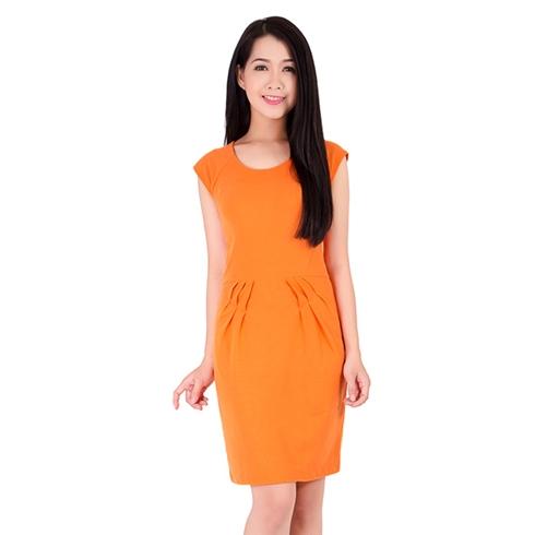 Đầm thun cá sấu xếp ly eo màu cam - Khánh Linh