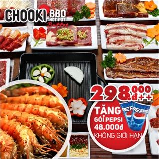 Cùng Mua - Chooki Buffet BBQ va Hotpot tang Pepsi uong khong gioi han