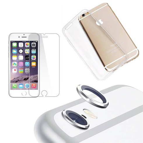Combo ốp lưng, miếng dán cường lực, bảo vệ camera iPhone 6