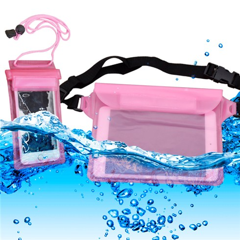 Combo 2 túi chống nước cho smartphone và iPad Mini - Màu hồng