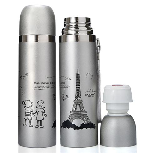 Bình giữ nhiệt inox 500ml họa tiết tháp Eiffel - xám bạc