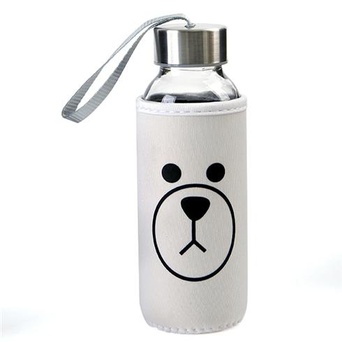 Bình nước My bottle bằng thủy tinh có túi chống vỡ - Trắng