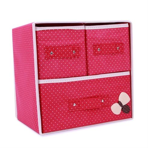 Tủ vải đựng đồ đa năng 3 ngăn khung cứng có nơ VNT - hồng