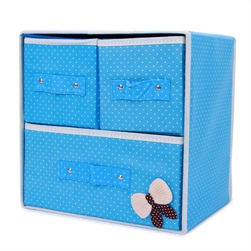 Tủ vải đựng đồ đa năng 3 ngăn khung cứng có nơ VNT - blue