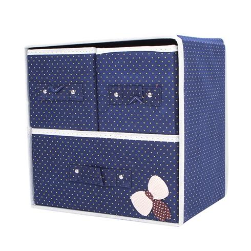 Tủ vải đựng đồ đa năng 3 ngăn khung cứng có nơ - xanh đen