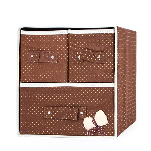 Tủ vải đựng đồ đa năng 3 ngăn khung cứng có nơ VNT - nâu