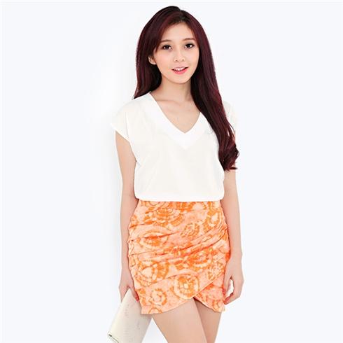 Chân váy xếp gấp họa tiết cam Gaia