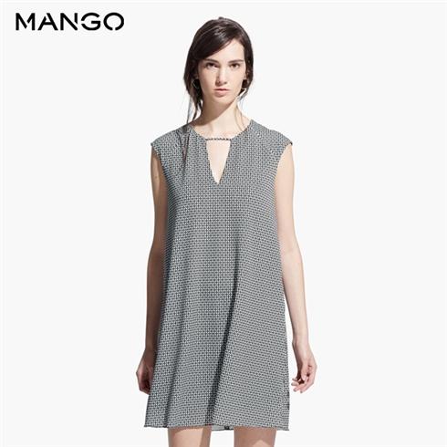 Đầm suông MANGO chính hãng - họa tiết đen trắng 41020282
