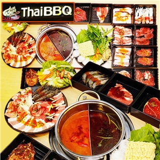Cùng Mua - Buffet goi mon bo My BBQ, sashimi va lau - Nha hang Thai BBQ