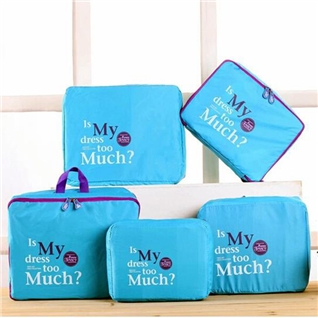 Cùng Mua - Set 5 tui bag in bags Traveling thoi trang tien dung - Blue