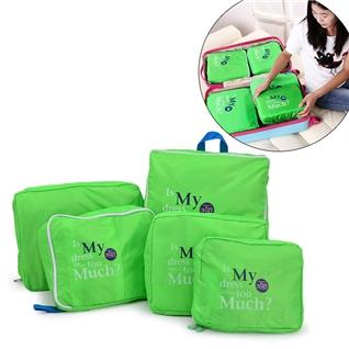 Cùng Mua - Set 5 tui bag in bags Traveling thoi trang tien dung - Green