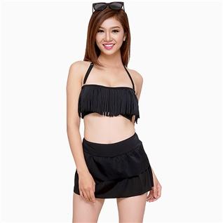 Cùng Mua - Set bikini quan vay tang va ao tua rua mau den