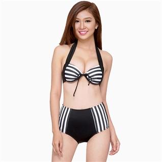 Cùng Mua - Set bikini cap cao phoi soc den trang
