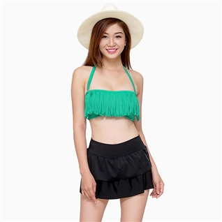 Cùng Mua - Set bikini quan vay tang va ao tua rua mau xanh
