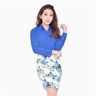 Cùng Mua - Ao So Mi Nu Giau Nut Mau Xanh Duong TP07