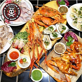 Cùng Mua - Buffet toi BBQ nuong hai san tom, cua, oc - Krauts Garden