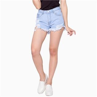 Cùng Mua - Quan short jean rach mau xanh trang