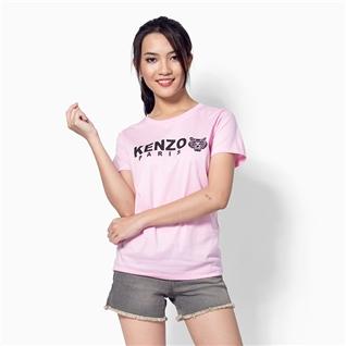 Cùng Mua - Ao thun nu co tron tay ngan phoi chu Z006 mau hong nhat