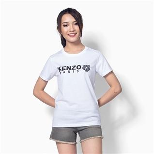 Cùng Mua - Ao thun nu co tron tay ngan phoi chu Z006 mau trang