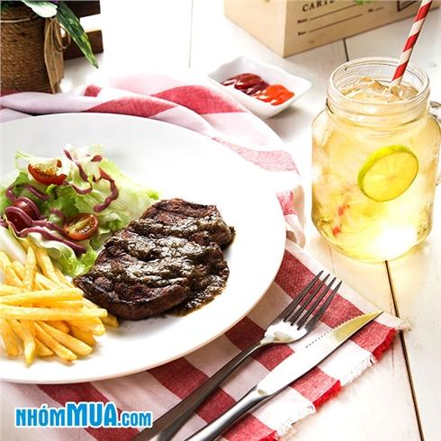 Combo Steak lõi vai bò + Soda trái cây tại Beef Bar