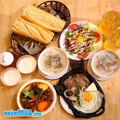 2 phần bò phô mai/lagu, cháo, salad, tàu hủ, trà - Huỳnh Gia