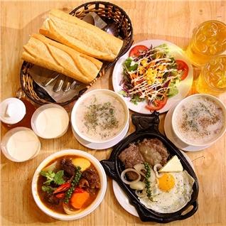 Cùng Mua - 2 phan bo pho mai/lagu, chao, salad, tau hu, tra - Huynh Gia