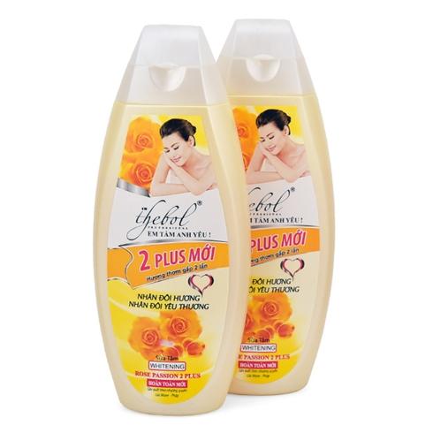 2 sữa tắm thảo dược vitamin E,nước hoa 2 plus Thebol mới 318g