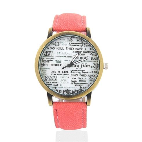 Đồng hồ phối mặt đồng W0020 màu cam