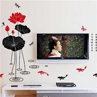 Cùng Mua - Decal dan tuong hoa tiet ca chep va hoa sen 60 x 90 cm