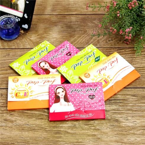 Combo 6 gói giấy thấm dầu Pop-Puf (100 miếng/gói)