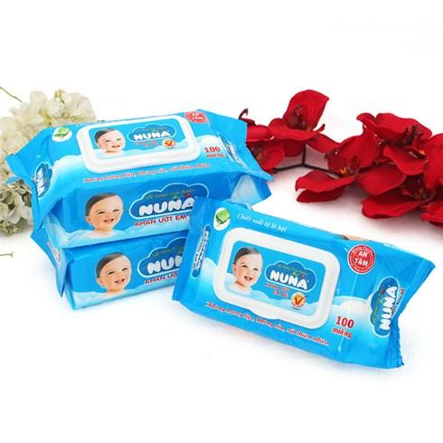 Combo 3 gói khăn ướt Nuna không mùi (100 miếng/gói)