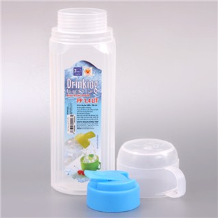 Cùng Mua - Binh dung nuoc trong suot Dong Tam Plastic 1.4L kem ca uong