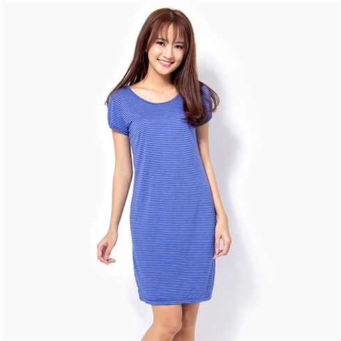 Đầm suông tay phồng - Sọc xanh KIR31143