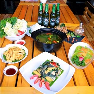 Cùng Mua - Set lau ech + Tang bia cho 4 nguoi - Mr.Bill Beer Club