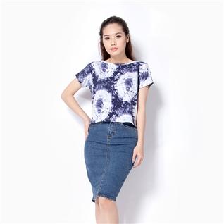 Cùng Mua - Ao canh doi nu croptop hoa tiet xanh C005